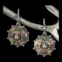 Lovely Victorian Silver Target Earrings 1877