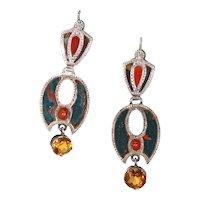 Victorian Scottish Silver Agate Earrings Citrine Drops