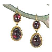Victorian Era Cabochon Garnet Earrings 15k Gold