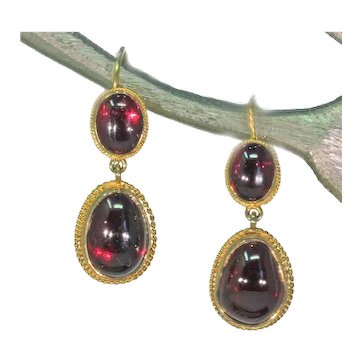 Victorian Era Cabochon Garnet Earrings 15k Gold