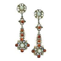Silver Austro Hungarian Pearl and Garnet White/Black/Blue enamel Earrings