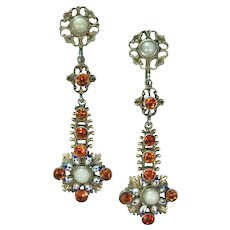 Silver Austro Hungarian Pearl and Garnet White/Black/Blue enamel Earrings