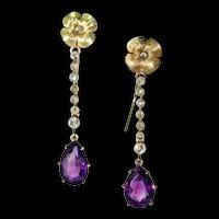 Edwardian Long Amethyst Diamond Earrings