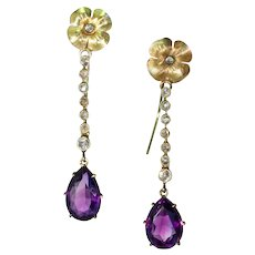 Edwardian Long Amethyst Diamond Earrings