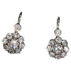 Edwardian Old European Cut Diamond Earrings Platinum
