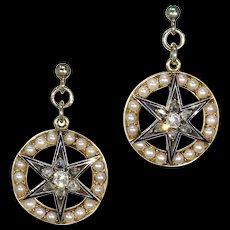 Victorian Diamond Pearl Enamel Star Target Earrings