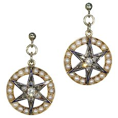 Victorian Diamond Pearl Enamel Star Target Earrings