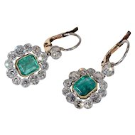 Art Deco Emerald Diamond Cluster Earrings, *Video*