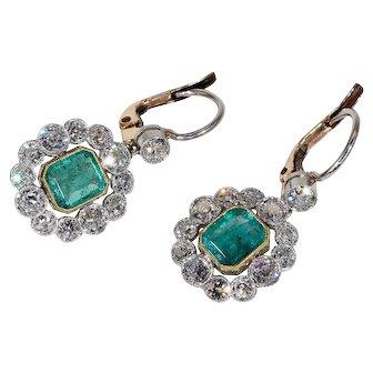 Art Deco Emerald Diamond Cluster Earrings, *Video*
