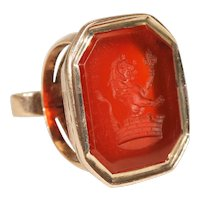 Antique Carnelian Lion and Crown Watch Fob Pendant in 15k Gold