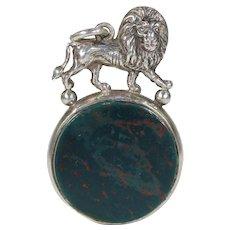Antique Silver Bloodstone and Carnelian Lion Fob Hallmarked Birmingham 1890