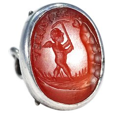 Antique Carnelian Intaglio Fob Pendant 'Forging New Love'