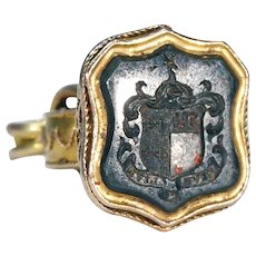 Victorian Armorial Bloodstone Fob Pendant 'Live to Live'
