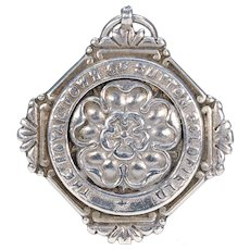 Antique Victorian Silver Watch Fob Pendant with Tudor Rose Motif