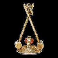 Antique Gold Croquet Fob Pendant Sardonyx