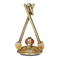 Antique Gold Croquet Fob Pendant Sardonyx