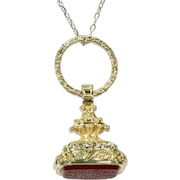 Antique Georgian 18k Carnelian Watch Fob Pendant with Split Ring Arabic Writing