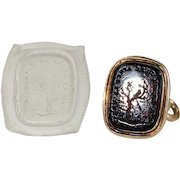 "Victorian Tassie Fob Pendant Gold ""My Love will Outlive Death"""