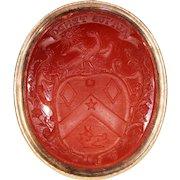 Victorian Intaglio Armorial Fob Pendant Seal