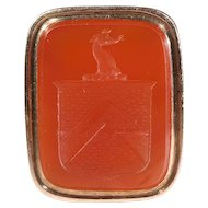 Antique Intaglio Seal, Victorian 15k Gold