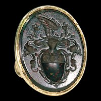 Georgian Intaglio Seal Fob Pendant 18k Gold Bloodstone