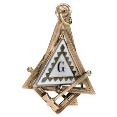 Antique Enamel Masonic Fob Pendant 15k Gold Unusual