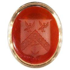 Georgian Carnelian Armorial Seal Fob Pendant Gold