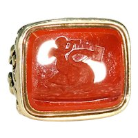 Georgian Cherub and Swan Fob Seal Pendant 15k Gold