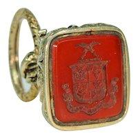 Georgian Carnelian Gold Fob Seal Pendant with Gold Split Ring
