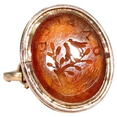 Georgian Carnelian Gold 'United' Seal with Birds