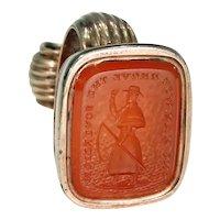 Duke of Wellington Fob Seal Pendant Carnelian Gold