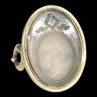 Georgian Mirror Intaglio Fob Pendant Chalcedony 15k Gold