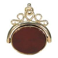 Victorian Locket Flip Fob Carnelian Pendant