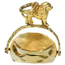 Antique Citrine Spinner Fob Pendant Gold Lion Top