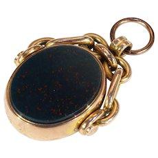 Antique Victorian Watch Flip Fob Pendant Carnelian Bloodstone