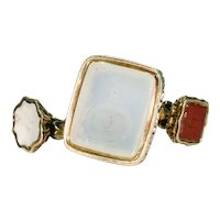 15k and 9k Three Fobs and Split Ring White Chalcedony and Carnelian Carved