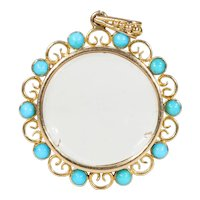 Victorian Double Sided Crystal Frame Locket Pearl Turquoise Pendant