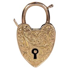 Edwardian Gold Heart Padlock Pendant Bracelet Closure