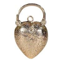 Antique Victorian Engraved Padlock Locket Pendant Gold