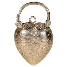 Antique Victorian Engraved Padlock Locket Pendant Gold