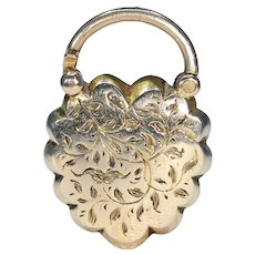 Beautifully Engraved Gold Heart Locket Lock Antique Victorian Pendant
