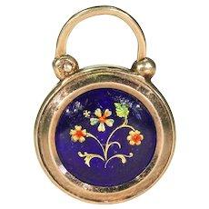 Early Victorian Enameled Flower Lock Pendant 14k Gold