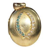 Antique Emerald and Pearl Locket with Wreath Motif in 18k Gold