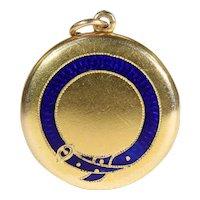 Antique Victorian Blue Enamel 'Order of the Garter' Locket in 18k Gold, Inscribed 1869