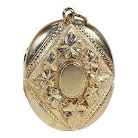 Antique Victorian Ivy Motif Locket in 15k Gold