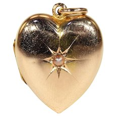 Antique 15k Gold Pearl Heart Locket