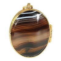 Antique Victorian Charming Double Sided Banded Agate Locket Made of Pinchbeck