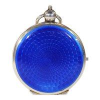 Antique Blue Enamel Compact Locket Pendant