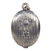 Antique French Silver Slide Locket Pendant Mirror and Frame