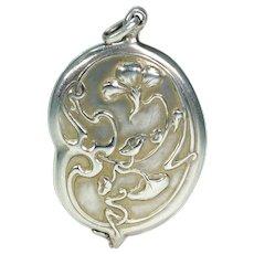 Antique Art Nouveau Slide Locket Silver